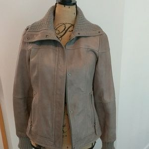 Eddie Bauer gray leather jacket